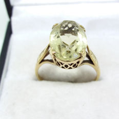 Large Vintage natural Yellow Lemon Citrine Solitaire yellow gold coctail ring