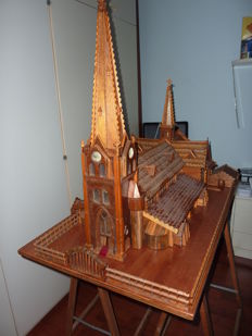 Handmade scale model of a Catholic Church