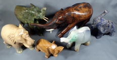 Beautiful elephant carvings of various minerals - 5474 g (6)