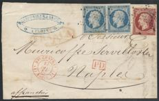 France 1853 - Napoleon 1 Fr carmine and Presidency letter for Naples, Ceres certificate - Yvert no 18 and 10 pair