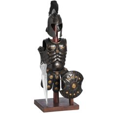 Roman armour with shield and gladius (sword) on wooden stand (62 cm high)