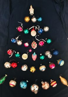 Very old blown glass Christmas balls and human character, exclusive