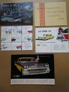 FORD - Lot de 5 brochures originales Fairline, Fairline 500, Tbird, Galaxie, Custom 300, Falcon, Station wagons de 1958 à 1962