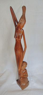 Wood carving of a Balinese goddess - Bali /Indonesia - second half 20th century (63 cm)