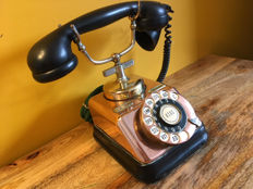 Working Denmark vintage telephone copper rotary dial by KTAS, ca. 1930