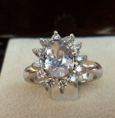 2.16 ct IGI Certified Untreated Light Violet Natural Sapphire and 0.36 ct Natural Diamonds E/VS2 in New Ring of 14K White Gold  -  Size 17.5/55.0/7.5  -  Total Ring Weight 6,30 Gram