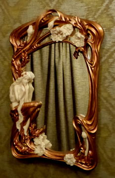 Jugendstil Art Nouveau style mirror - with a graceful forest nymph