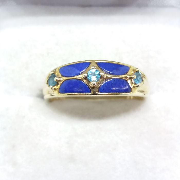 Unique Vintage Royal Blue Cloisonné Enamel & Swiss Blue Topaz dress ring