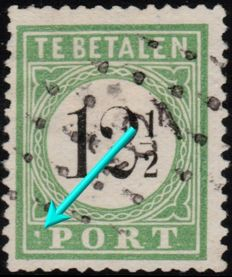 """Curaçao 1889 – Postage due with plate error """"Punt PORT"""" Type I – NVPH P4fa"""