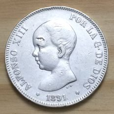 Spain -- Alfonso XIII -- 5 Pesetas 1891 * 91 *  MP-M -- Silver -- Madrid