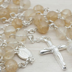 ROSARY made of citrine beads and sterling silver.