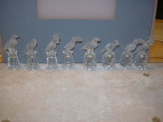 Swarovski - Silver Crystal eagle, parrot, toucan, cockatoo on thimbles, 8 PCs, very rare