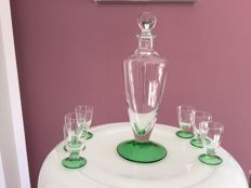 Set of decanter and 6 glasses in blown glass