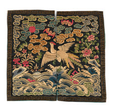 China, 19th century. Rank badge in embroidered silk.