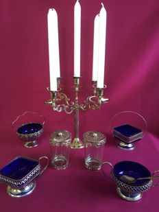 7 piece lot kitchen items including 5 armed silver plated candelabra.