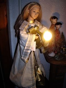 Large Moving Christmas Angel 69 cm with Lamp and Cassette Player