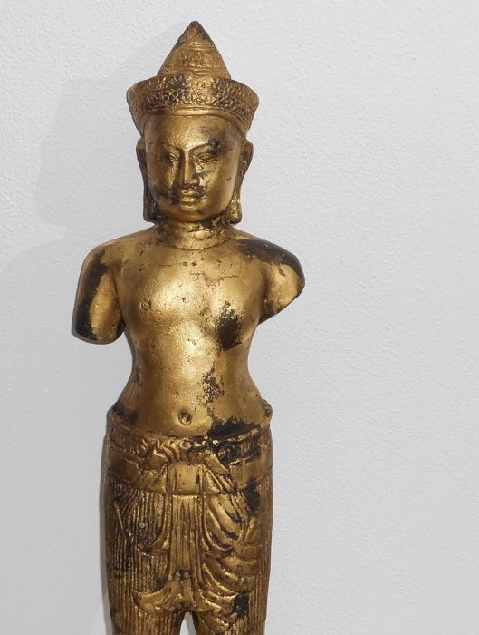 Gold-plated Bronze Vishnu statue in Khmer style - Thailand - 2nd half 20th century (44.5 cm)