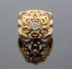 French Art Deco 18K yellow gold ring with Diamond (0.40 ct) circa. 1920's