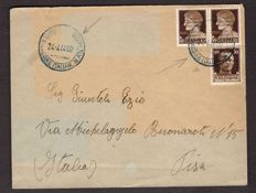 Kingdom of Italy 1944 - Atlantic Base - 10 Cent, pair of 30 Cent, overprinted on an envelope to Pisa - Sassone No.  25 and 28
