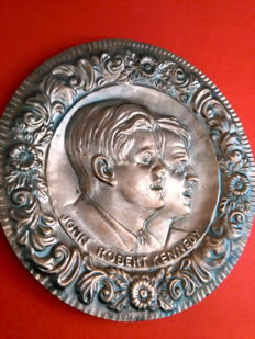 "Embossed copper decorative wall plate: "" I Kennedy """