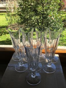 Lot of 8 Bohemia crystal champagne flutes