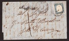 Sardinia, 1855/1862 - 20 cent. greyish blue on letter from Livorno to Fitto di Cecina - Sassone No.  15Dc