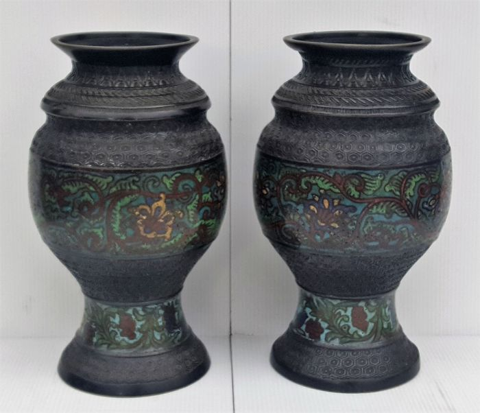 Pair Of Cloisonn Vases 25 Cm China End 20th Century Catawiki