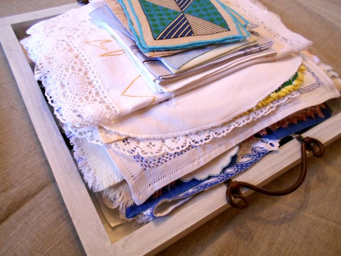 Lot of 80 pieces consisting of vintage doilies, napkins, handkerchiefs NO RESERVE PRICE