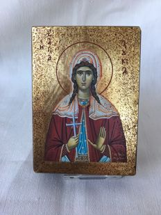 beautiful gilded, polychrome Handpainted and signed Travel icon of Sainte Lucie, rare - Macedonia - 1997