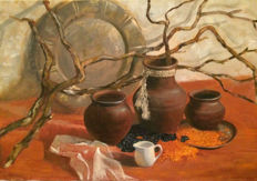 Rimma Epshtein(20e eeuw)  - Still life with clay pots