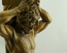 Beautiful wooden sculpture of Atlas - Italy - early 20th century