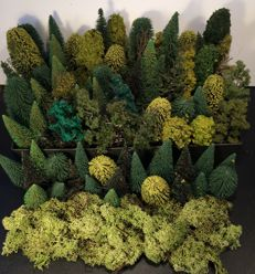Faller/Nor/Busch H0- lot of 83 trees and Iceland Moss