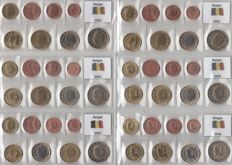 Belgium – year packs Euro coins 2002 through 2005, 2007 and 2009, complete.