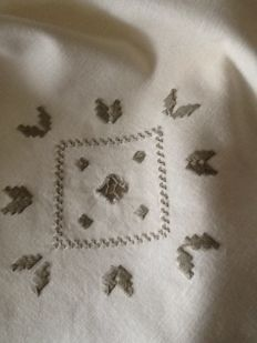 Antique hand embroidered linen tablecloth