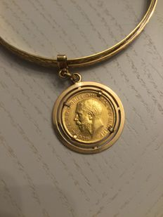 United Kingdom - 1/2 Sovereign 1915 George V + Gold bracelet