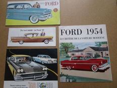 FORD - Lot de 4 brochures originales Mainline, Customline, Crestline, Fairline, Station wagons, Fairline 500 de 1953 à 1958