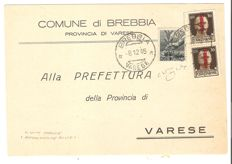 Italy 1945 - RSI/Democratica, 30 cent, brown with 'Fascetto' two values; 40 cent, slate grey, Lire 1 postage on postcard from Brebbia to Varese - Sassone No.  492, 546