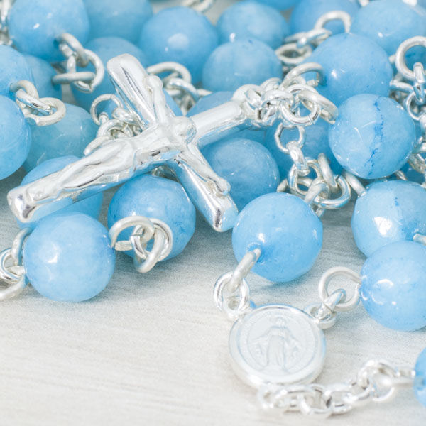 ROSARY made of aquamarine faceted stone mounted in sterling silver