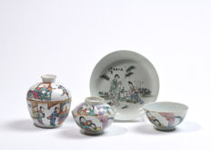 Porcelain set of three bowls and one plate - China - circa 1900