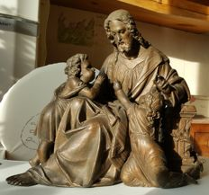 Jesus with children - old big French figurine - 19th century - made of pewter