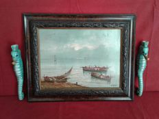 1 Oil painting on stiff cardboard with boats. Wooden frame worked in relief and 2 handmade seahorses in vitrified glazed earthenware. Italy, mid 20th century