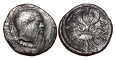 Greek Antiquity - Sicily, Katane c. 461-450 BC - AR Litra (Silver, 11,5mm, 0,71g.) - Head of Selinos / Winged thunderbolt - SNG ANS 1237; SNG Cop. -
