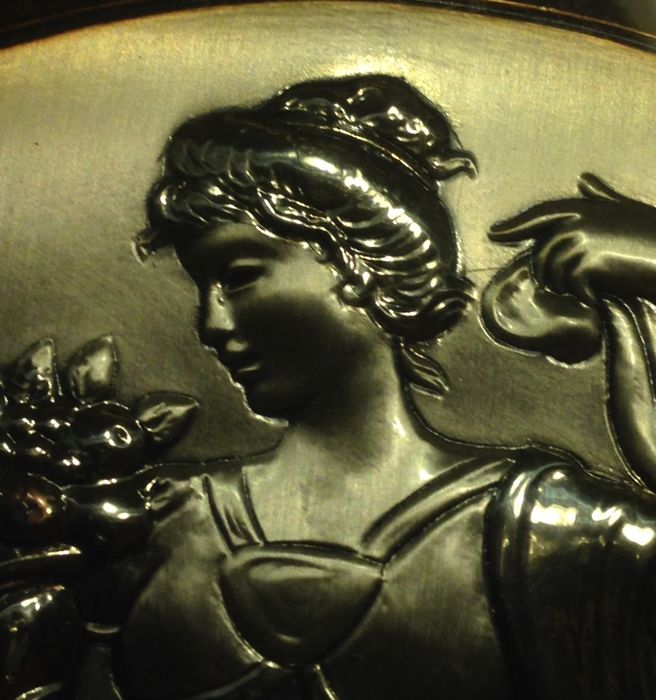 """""""La Terra"""", bas-relief on a silver plate, signed by Castellani - Acca - Italy, 2004"""