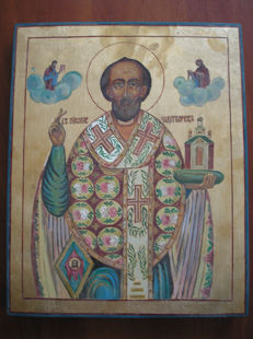 20th century ortodox russian icon of st. Nikolaj hand painted