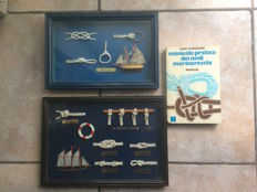 2 display cases with collectible sailors knots  and a practical manual of sailors knots