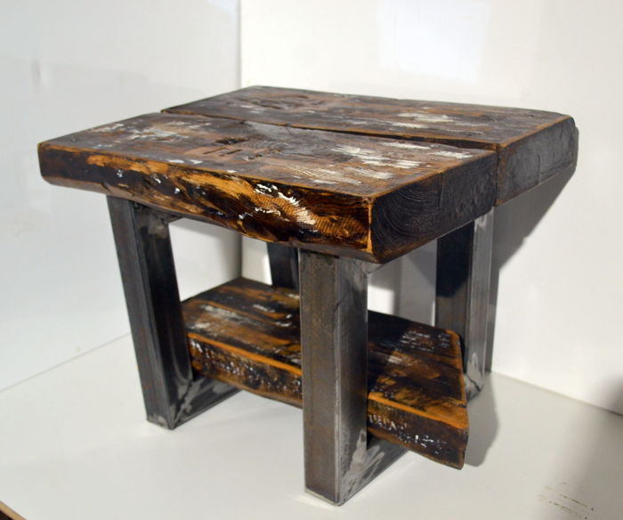 Industrial Coffee Table Handmade Of Old Wood And Steel M