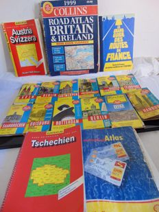 Michelin / Euro Atlas / Falk Plan - Lot of 46 maps and road atlases - 1980 / 1999