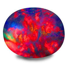Fire 360* flashy harlequin Welo-Ethiopian black opal - 11.16 x 9.21 x 4.92mm - 2,33ct