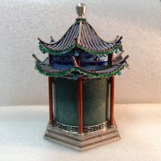 Chinese - sterling silver, enamel, jade, pagoda-temple form, tea caddy green jade box