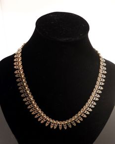 Necklace 14 kt yellow gold, vintage antique link